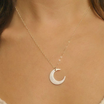 Sterling Silver Crescent Moon, delicate silver necklace, crescent silver necklace, silver moon necklace, silver long necklace, moon // N-112