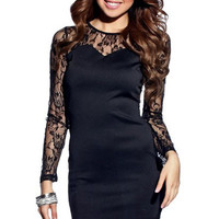 Sweetheart Neckline Mini Dress with Floral Lace Insert