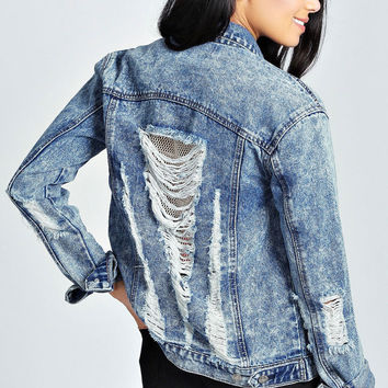 Amarah Acid Wash Ripped Denim Jacket