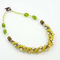 Fresh days beadwoven necklace, spring green, yellow, clear, brown glass beads, with beaded bead accents, statement necklace