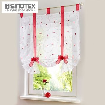 Embroidered Roman Curtain Home Wave European Stitching Colors Living Room Balcony Voile Panel 1PCS