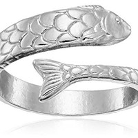 Alex and Ani Ring Wrap, Fish, Sterling Silver Stackable Ring, Size 5-7
