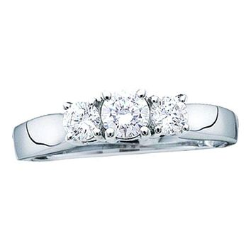 14kt White Gold Women's  Diamond 3-stone Bridal Wedding Engagement Ring 1/4 Cttw - FREE Shipping (US/CAN)