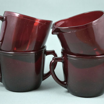 Fire King Royal Ruby Charm Creamer & Sugar Bowl 1950-56