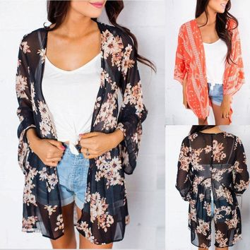 USA Women's Loose Blouse Summer Boho Chiffon Coat Shawl Kimono Cardigan Tops