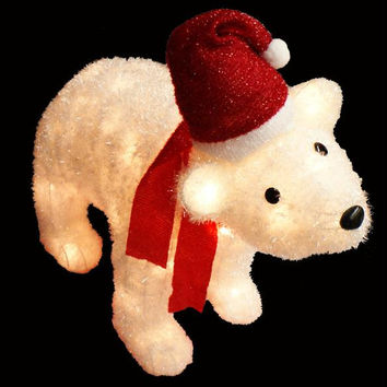 Polar Bear Christmas Yard Art - 100 Clear Mini Lights