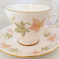 Crown Trent Japanese Maple English Fine Bone China Vintage Teacup & Saucer Set Autumn Colors orange green pale yellow keys leaves leaf gold