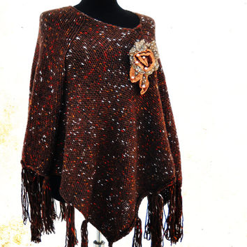 Brown Poncho, Tweed Effect Poncho, Fringe Ponchos, Poncho Sweater, Women Accessories, Hand Knit Poncho,  Boho Poncho, Asymetrical Sweater