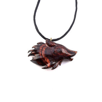 Wolf Pendant, Wolf Necklace, Men's Necklace, Wood Pendant, Wood Jewelry, Hand Carved Pendant, Wood Necklace, Western Jewelry, Men's Jewelry