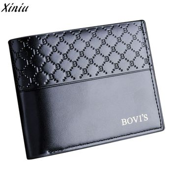 New Men Solid Leather Bifold Wallet