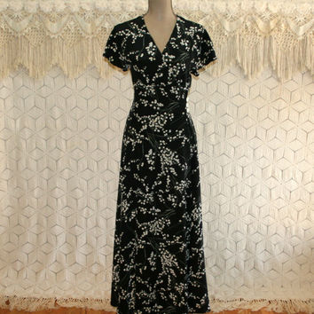 90s Black Floral Silk Maxi Dress Large Short Sleeve 30s Style Long Dress Lily of the Valley J Peterman 1990s Womens Dresses Vintage Clothing