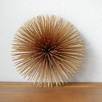 Mid Century Modern C Jere medium starburst wall sculpture pom pom sea urchin