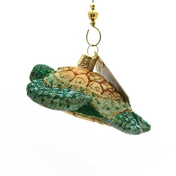Old World Christmas Glistening Sea Turtle Glass Ornament