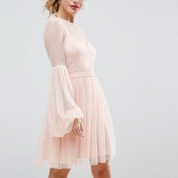 ASOS PETITE Dobby Mesh Balloon Sleeve Mini Dress with Trim at asos.com