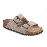 Arizona Sandal in Taupe Suede with Soft Footbed by Birkenstock