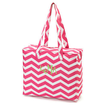 Monogrammed Tote Bag Hot Pink Chevron Zig Zag Zippered Solid
