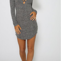 Gray V Cross Straps Knit Dress