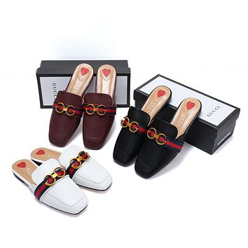GUCCI Popular Women Personality Blue Red Stripe Metal Letter Buckle Half Slipper Sandals Shoes