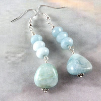 Aquamarine Earrings, March Birthstone Earrings, Aquamarine and Sterling Silver