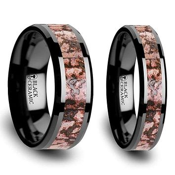 Uffe Black Ceramic Wedding Band Set With Pink Dinosaur Bone Inlaid - 4mm & 8mm