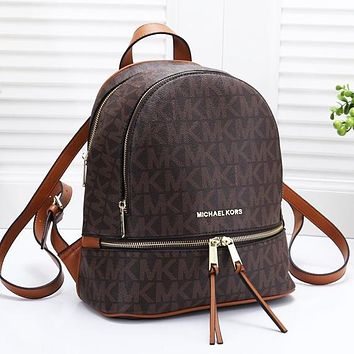 Michael Kors MK Fashion Women Casual Shoulder School Bag Leather Backpack Coffee