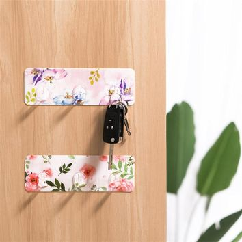 4pcs Flower Print Strong sticky wall hanger Rack with 3 Hooks Kitchen Bathroom storage Keys Accessory hangers Mounted drop ship