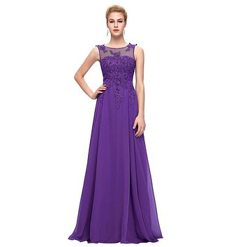 Purple Prom Dress Plus Size Chiffon Cap Sleeve Prom Dresses Embroidery Pink Long Evening Gowns White Formal Party Dress CL7555