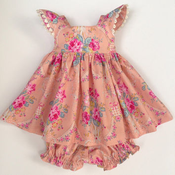 Girls Easter dress baby dress and bloomers peach dress spring dress special occasion dress Jennifer Paganelli designer fabric