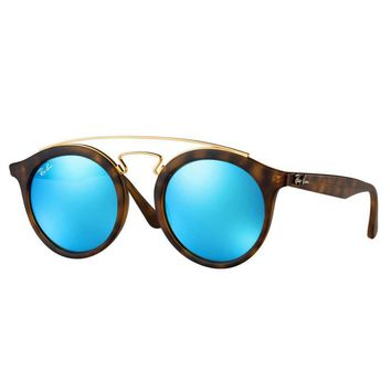 Ray Ban RB4256 609255 Gatsby I Sunglasses Tortoise Frame Blue Mirror Lens 49mm