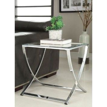 Home Table Coffee Glass Chrome Finish Glass Chair Side End Table
