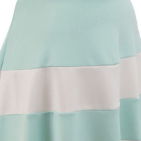 Mint and White High Waist A-Line Striped 50s Pin Up Style Skirt Sexy Retro Vintage Print Summer Skirt