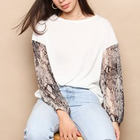 Snake To It Puff Sleeve Top