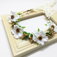 White and Gold Flower Crown - Wild Flower Halo, Flower Crown, Baby Halo, Bridal Flower Crown, Baby Photo Prop, Boho Flower Crown, Flower Hal