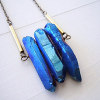 Raw Crystal Necklace - Blue Titanium Crystal Quartz Points - Modern -Boho