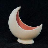 Crescent Moon Vase Planter, White Vase Pink Interior - Vintage, Retro Home Decor