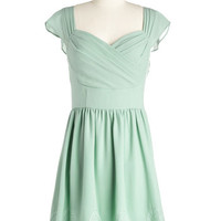 ModCloth Pastel Short Length Cap Sleeves A-line Let's Reminisce Dress