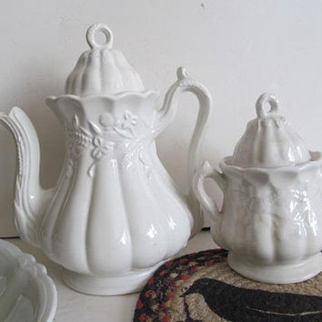 White Ironstone Tea Pot Master Sugar Bowl Set Victorian Tea Set White Ironstone Red Cliff Ironstone Wheat and Clover Pattern