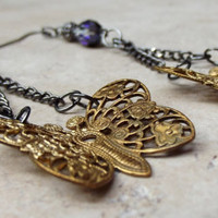Butterfly Earrings:  Vintage Brass Filigree, Fantasy Nature Jewelry, Swarovski Crystal Elements