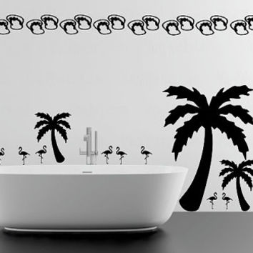 Tropical theme various size vinyl wall decal, palm tree decals, flip flop stickers, flamingo bird decals, assorted sized stickers, 28 pack