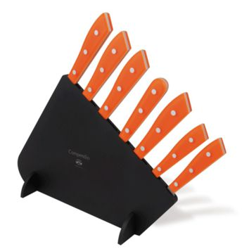 7pc Polished Knife Set - Orange Lucite