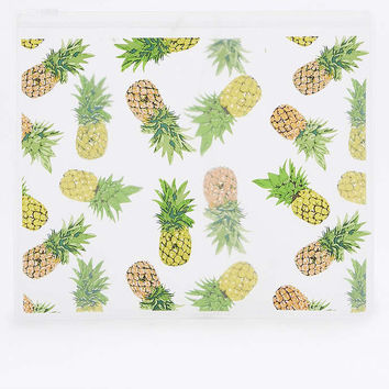 Yellow Pineapple Plastic Zip Make-Up Bag - Urban Outfitters