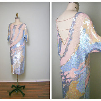 RARE Iridescent Sequin Dress // Great Gatsby Pastel Spring Wedding // Baby Blue Pearl Pink Beaded Designer Vintage Dress Size 6