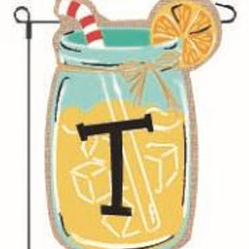 Home Garden Flags Monogram Lemonade Mason Jar Burlap Summer Garden Flag 12.5 x 18 (Letter T)