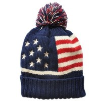 FunShop Women's Stripes and Stars Beanie Hat with Pom Pom H1025