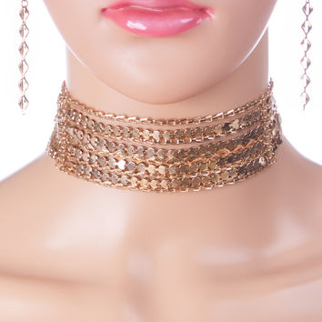 Kaylee Multi-Chain Choker Necklace and Earings Set