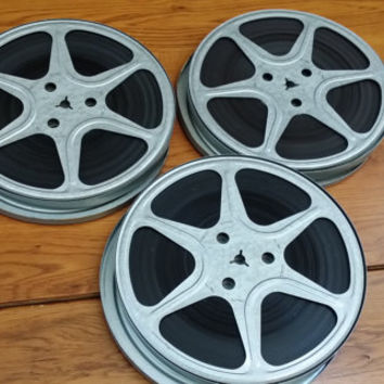 Vintage 8mm Metal Film Reels and Canisters Set of 3 Home Movies Great for Media Room Decor Repurposing Upcycling Altered Art