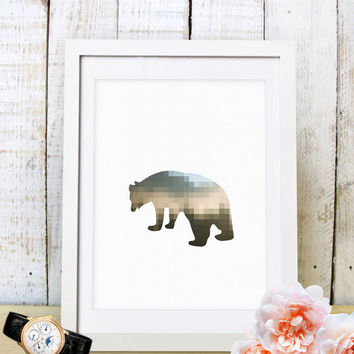 60% OFF SALE Geometric Bear Print, Bear Silhouette, Geometric Bear Art, Pixel Art, Nursery Wall Print, Bear Nursery, Geometric Printable Art