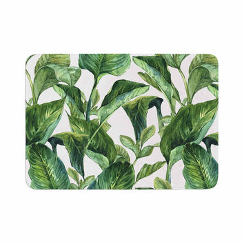 "Kess Original ""Banana Leaves"" Green White Memory Foam Bath Mat"