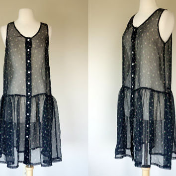 1990's sheer black grunge dress, floral print sleeveless drop waist dress, see through summer sun dress, Small, US 6