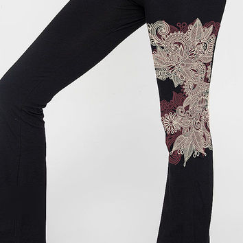 Yoga Pants, Henna Print, Mehndi Design, Dance, Cotton Lycra Workout Pants